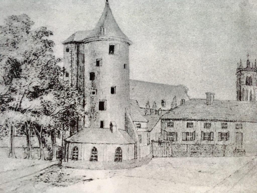 Der Buddenturm, Zeichnung von Jenny Droste-Hülshoff, um 1930
