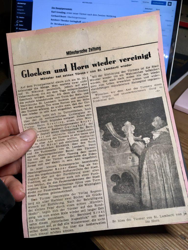 Zeitungsartikel aus der Münsterschen Zeitung von 1950 über den Türmer