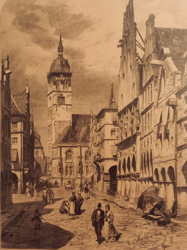 Die alte Lambertikirche mit Kuppel, Zeichnung.