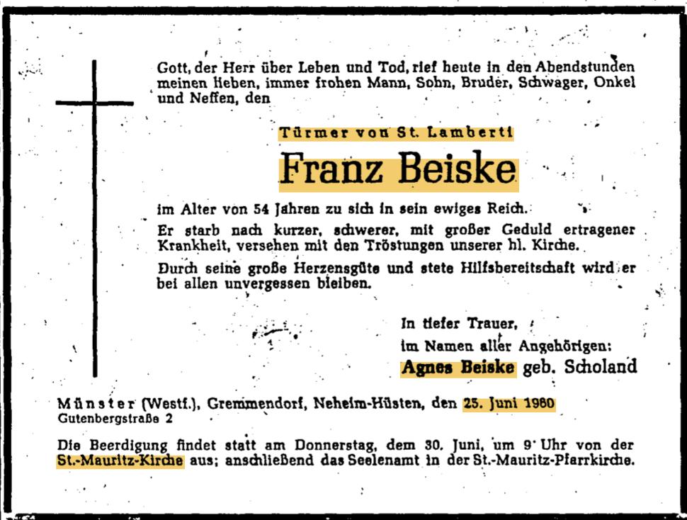 Todesanzeige Franz Beiske